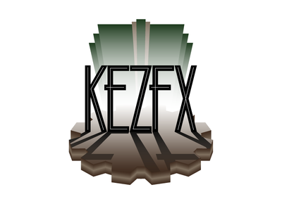 KezFX Logo v1 custom typography logo branding art deco steampunk gradient 3d cog gear perspective lighting ramp