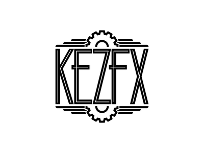 KezFX Logo v2 custom typography logo branding art deco steampunk cog gear minimal monochrome