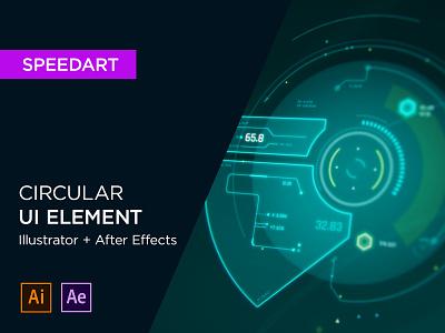 Circular UI Element speedart video element patreon fui screen design ui hud display adobe illustrator after effect motion graphics design animation