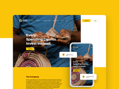 Landing page for Zerone Trade Hub web clean finance design landing page design investment figmadesign ui ui  ux