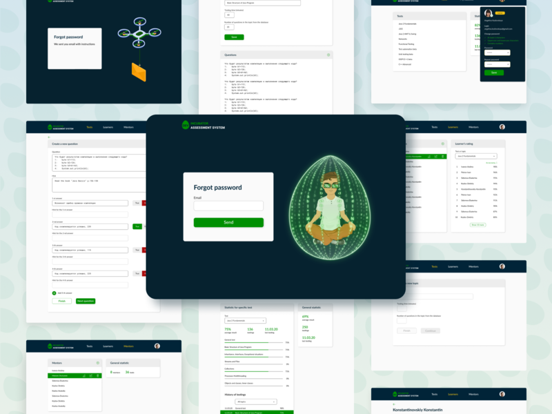 redesign of the Knowledge assessment system for DevIncubator figma vector illustration ui ux design