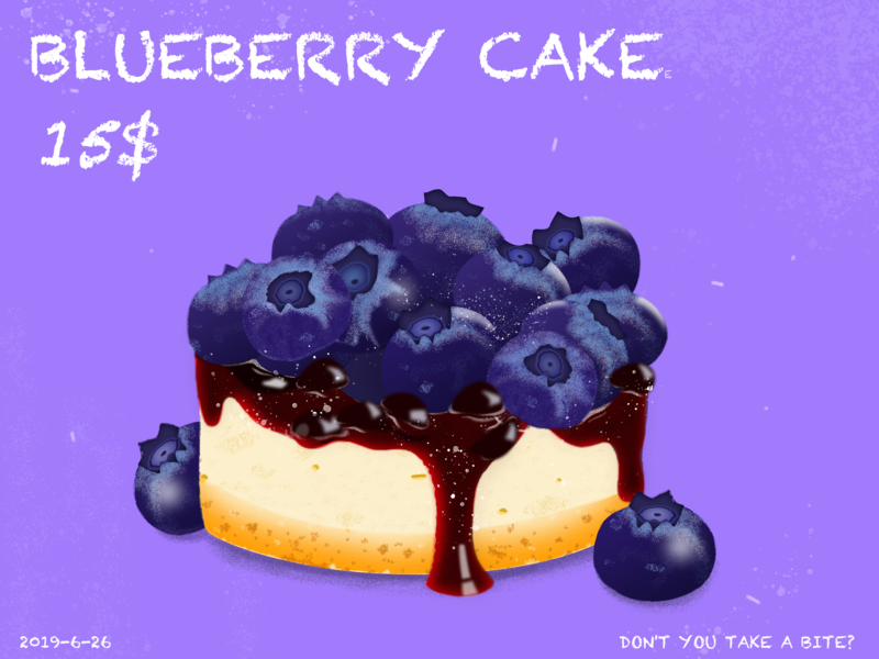 Blueberry cakee illustration design