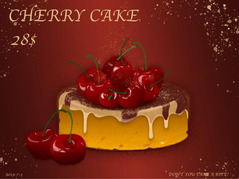 cherry cake illustration design