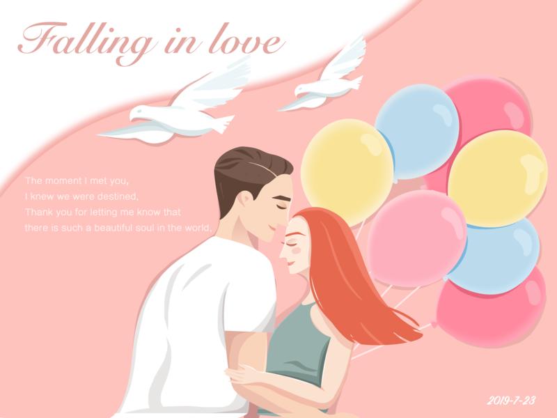 falling in love illustration design