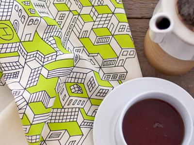 City Towels print textile pattern cloth texture green line