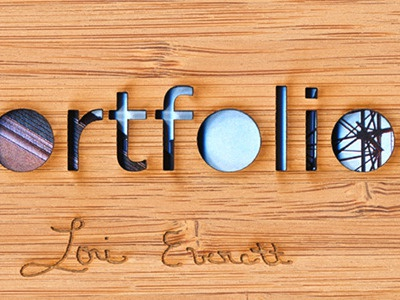 Portfolio Cover bamboo wood type etching grain laser cut