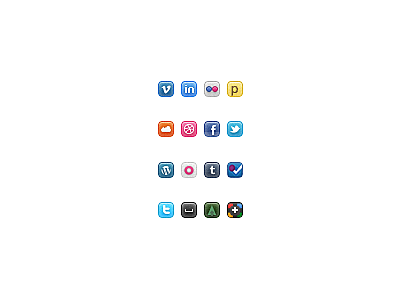 16px Socials mini icons social 16px tiny pixel