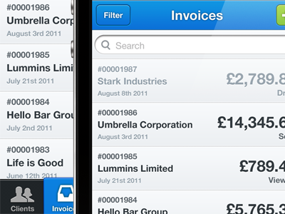 Keeeper ui iphone buttons blue invoice time app freshbooks
