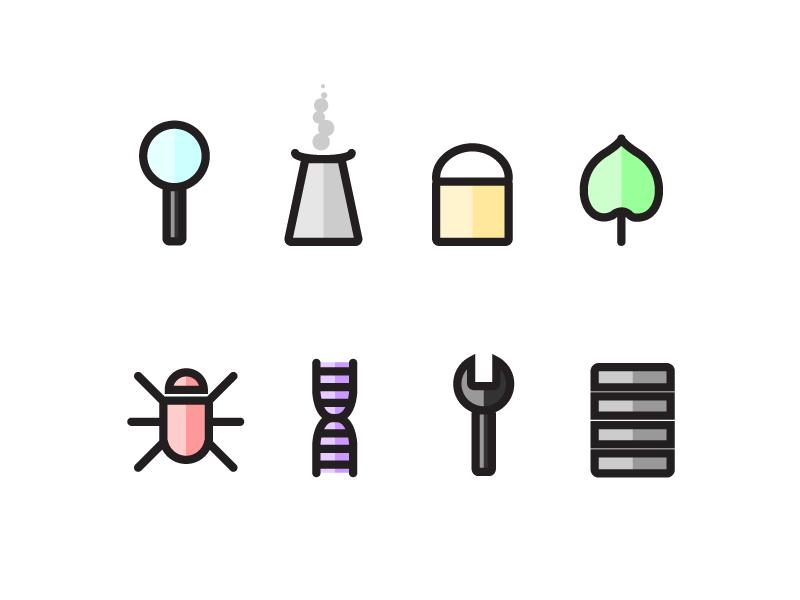 Genomics Icons vector flat design iconography icons