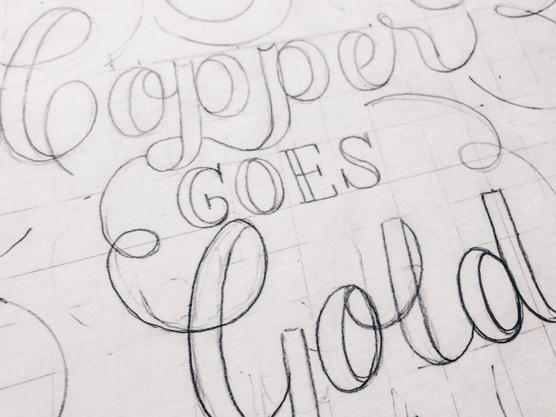 Process - Poster Heading (NYE 2017) for Copper Spirits & Sights posters handlettering lettering