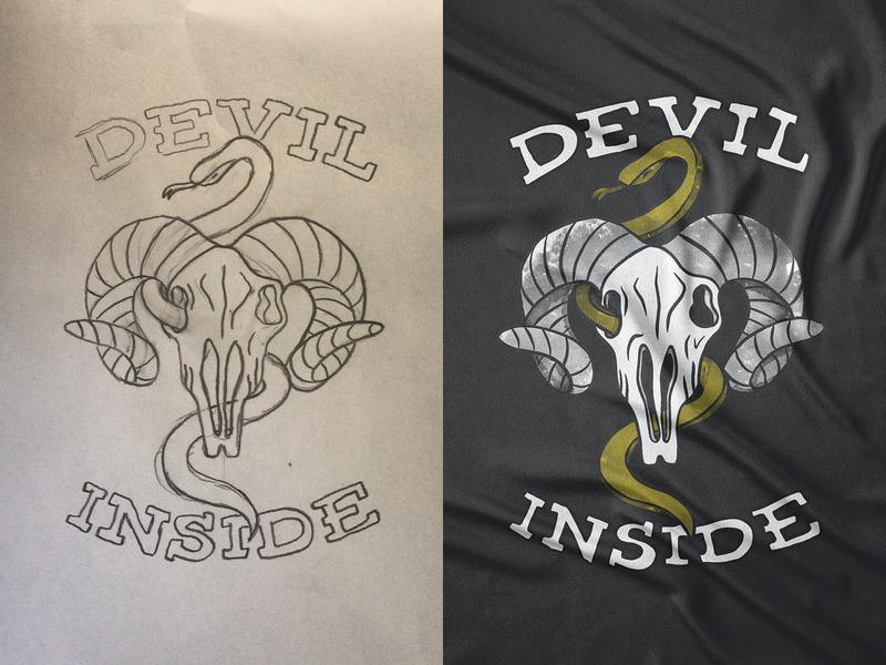 Devil Inside Drawing design painting vintage retro snake goat skull procreate ipad sketch drawing illustration vector illustration vector @andrepicarra