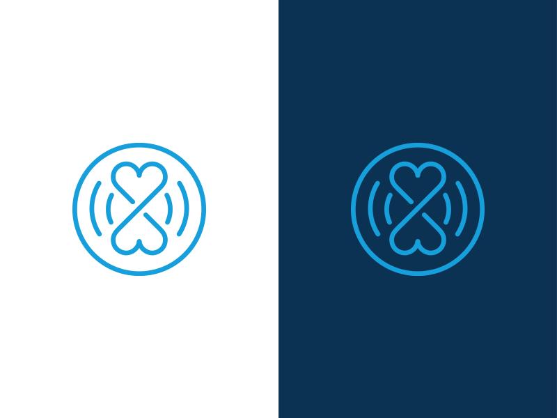 Hearts Logo Design blue branding symbol mark geometric logo line infinity identity hearts design circle