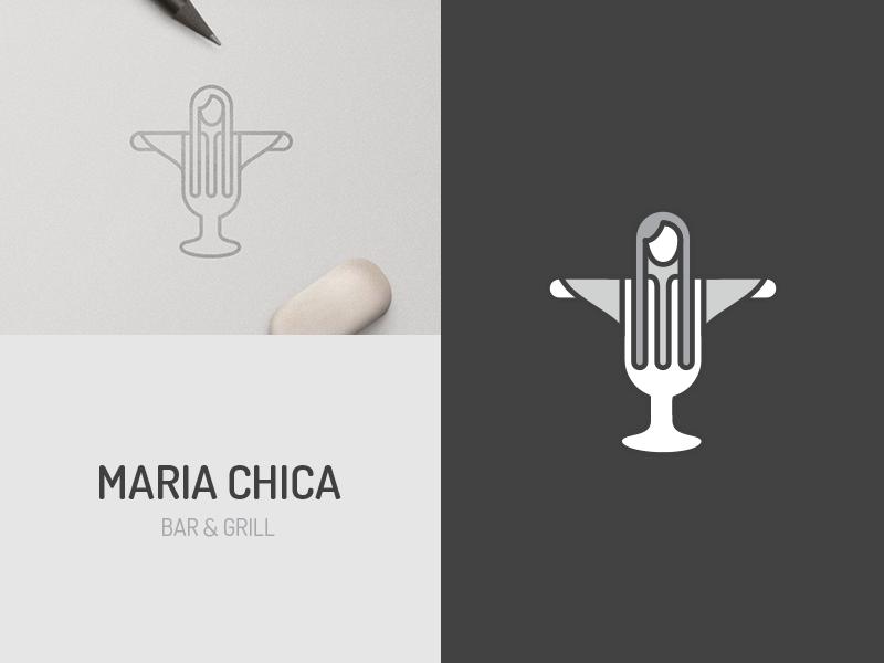 Restaurant Logo grill @andrepicarra bar branding logo design identity jesus christ glass fork woman