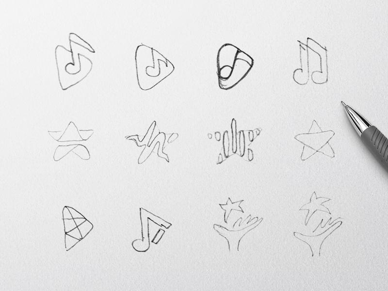 Music Event Logo Exploration note star music event drawing sketches logo design identity logo branding @andrepicarra