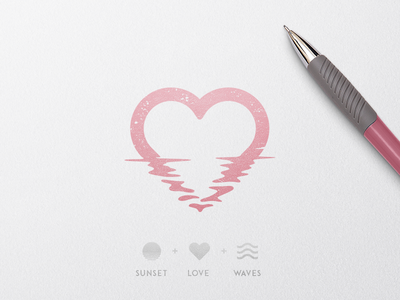 Rose Sunset Water Love sun sunset waves water rose love @andrepicarra logotype icon mark identity branding logo