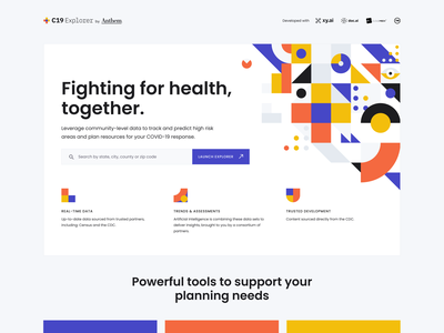 C19 Explorer Resource Center shapes geometric user interface user experience product design health covid web ui ux healthcare