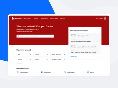 OU Support Center help help desk academic user interface university college higher ed higher education oklahoma support center support product design userinterface user experience uxui ui ux
