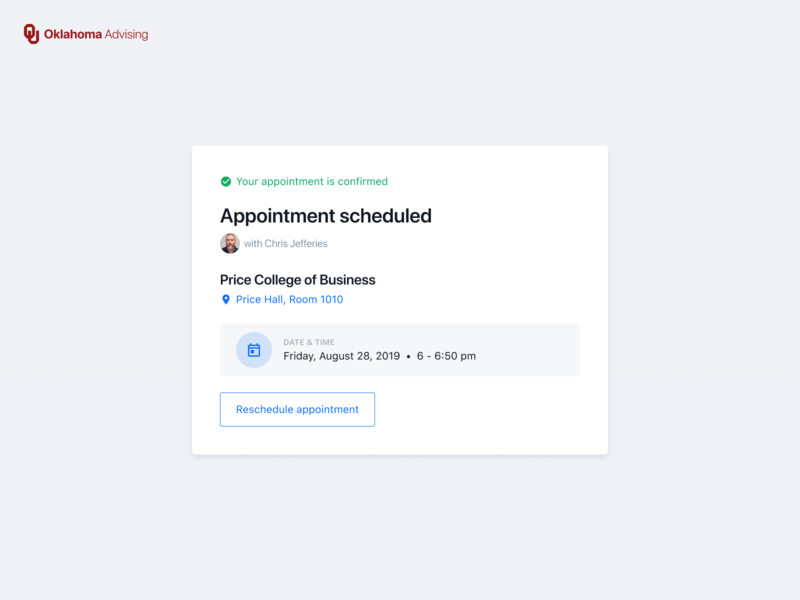 Appointment Card planning scheduling calendar schedule appointment advising university blue white user experience ui cards card design card minimal clean user interface ui