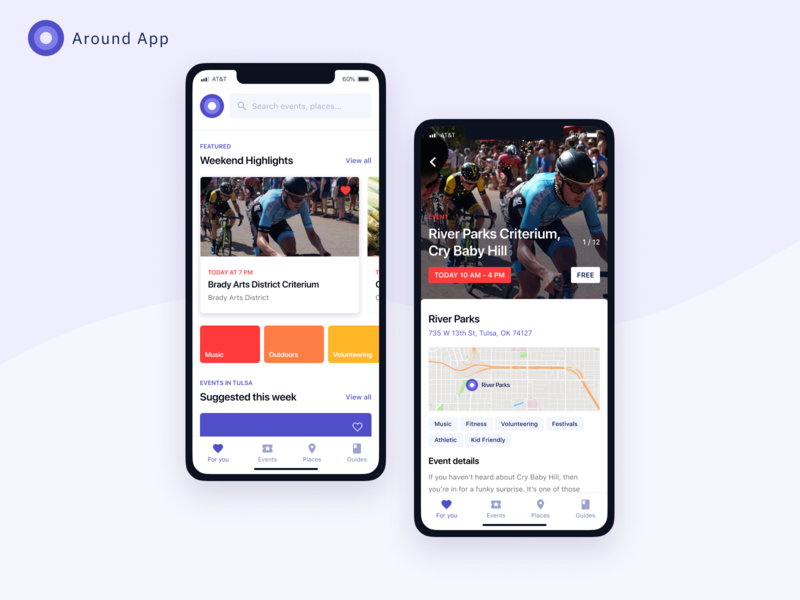 City-based events app (explorations) location purple white events app places events native app app ios app application ios minimal clean user experience ux user interface ui