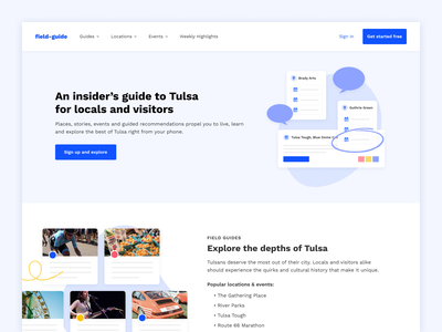 Field Guide Landing Page modern typography work sans interface experience color design website web local event illustration minimal clean simple blue purple white app landing