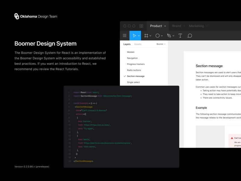 Boomer Design System *for React* styleguide reactjs dark tutorial javascript react guidelines figma mobile web minimal code documentation desktop design system component