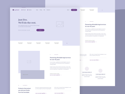wearelegalshield.com — wireframe purple ui website web layout minimal marketing home landing homepage ux wireframe clean