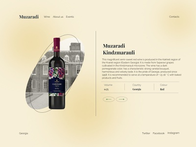 Muzaradi wine bottle drink wine minimal website web ui design