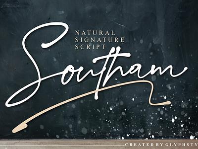 Southam Natural Signature Script logotype natural script handwritten ink signature font script font branding typography handlettering font design calligraphy script lettering