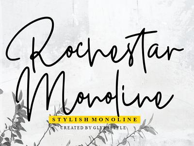 Rochestar Stylish Monoline name monoline monogram luxury logotype logo line letters illustration identity feminine brand