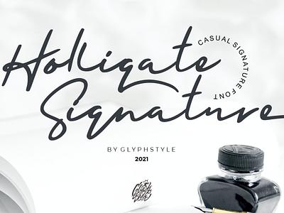 Holligate Signature signature font signature font design calligraphy script font typography handlettering branding