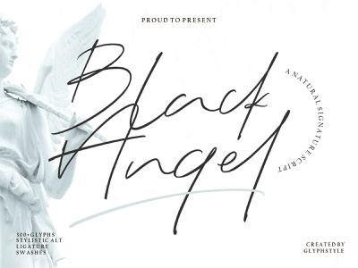 Black Angel - a Natural Signature Script quotes magazine design logo branding luxury design elegant fonts signature font script lettering luxury logo font design typography handlettering calligraphy