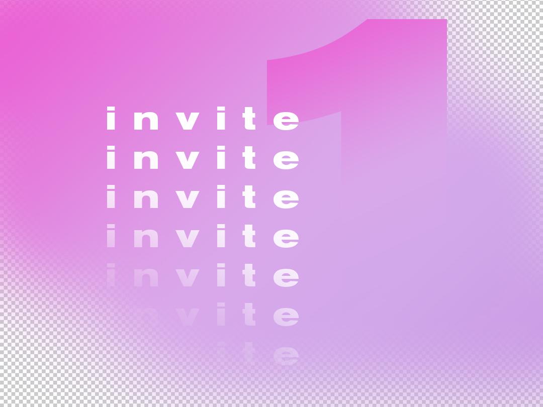 One Dribbble Invitation draft typography dribbble invitation dribbble invite dribbble design gradient invitation invite