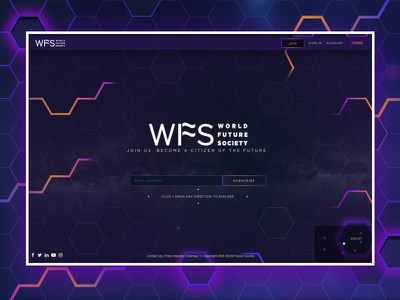 World Future Society futuristic website ui dark clean