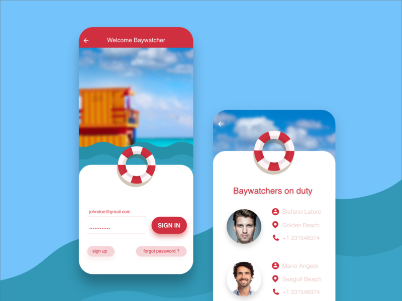 Daily UI Challenge - Day 1 - Baywatch app app design graphic  design app illustration ux design uidesign