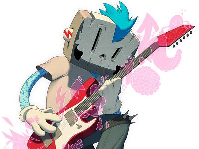 Punk Rocker mohawk guitar character mask tattoos