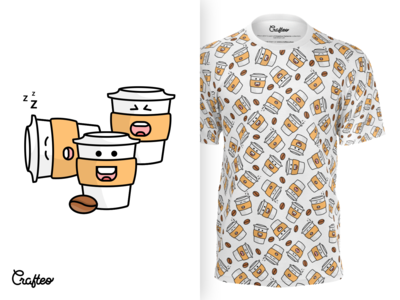 Mens Tshirt With Coffe Cups Pattern