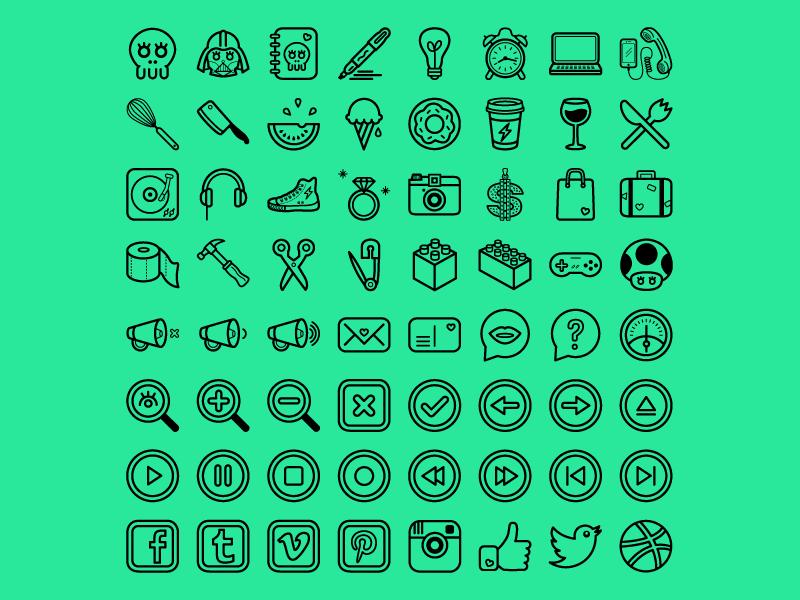 Dribbble shot coucou icons