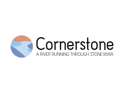 Cornerstone Logo Design river stone vector icon brand identity typography logo design illustration logo branding design