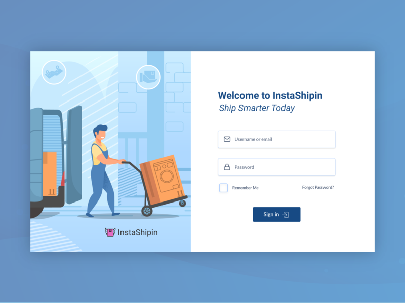 E-Commerce Login Page dailyui signin web website delivery courier uidesign minimal adobexd illustration signup registration login ecommerce simple uiux creative clean ux ui