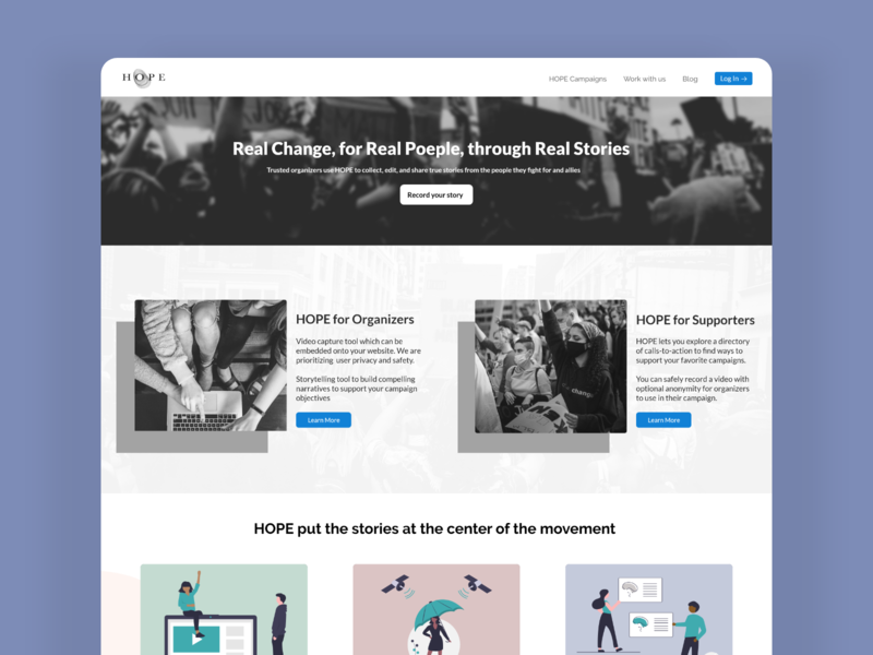 Hope | Landing Page Design adobexd minimal dailyui hope ui design simple illustration website blackandwhite homepage creative clean design uidesign ux uiux ui