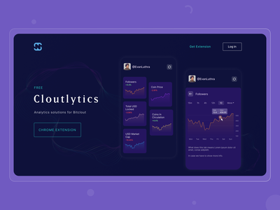 Cloutlytics | Analytics solutions website extension chrome solutions pattern graphs analytics solution dailyui branding creative tracking track dark homepage ux ui