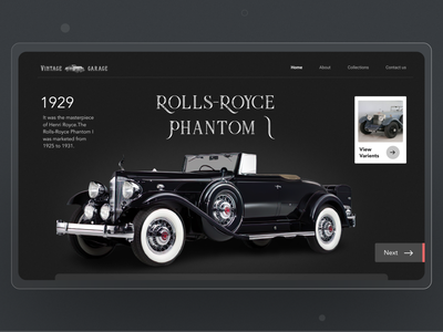 Vintage Garage blackandwhite car ui clean ui popular design webdesign garage simple dailyui dark website web design website design vintage car car website car design car website minimal clean ux ui