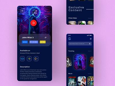 Novict | Searching Platform app design mobile app creative design minimal clean ux mobile ui mobile design hotstar prime netflix search engine seach popular tv series ui mobile ott