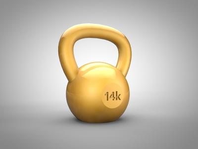 Kettlebell Gold kettlebell gold c4d 3d 14k