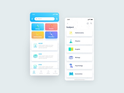 Education app mobile app design mobile ui ux ui ui design user experience user interface design chemistry biology learning subjects learning platform learning app educational education app
