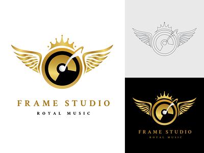 Frame Studio Royal Music golden royal colors ux logo design royal music royalty royal logo user experience ui vector logo music logo