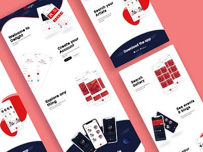 Music app landing page user experience user interface design typography ui design illustration presentation design mobile ui mobile app design vector landing page design
