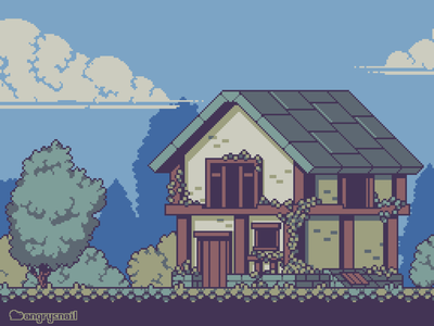 House covered in vines architecture sprite art artwork illustration environment design gameart pixel art 16bit pixelart 8bit