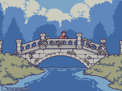 Bridge in the forest 16bit game art artwork game design illustration environment design pixel art gameart pixelart 8bit