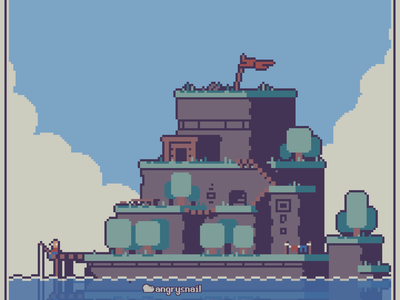 Solitary Island sprite 8bitart game design illustration environment design 16bit pixel art gameart pixelart 8bit